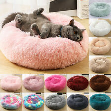 Pet Dog Cat Warm Plush kennel Calming Bed Round Nest Comfy Sleeping Cave UK