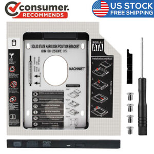 """9.5mm 2nd HDD Hard Drive Caddy SATA 2.5"""" SSD Optical Bay for Laptop CD-DVD ROM"""