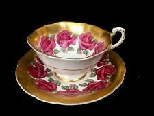 Vintage Paragon Fine Bone China Cabbage Rose Heavy Gold Cup & Saucer A4737