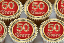 24 X 50TH BIRTHDAY ANNIVERSARY EDIBLE CUPCAKE TOPPERS CAKE WAFER RICE PAPER 1152