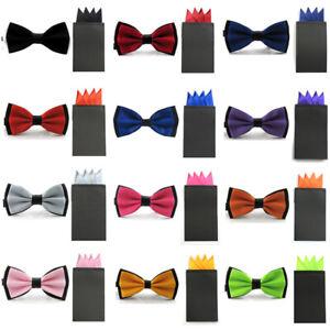 New Men Satin Dual Color Bowtie Pre-folded 4 Point Solid Pocket Square Hanky Set