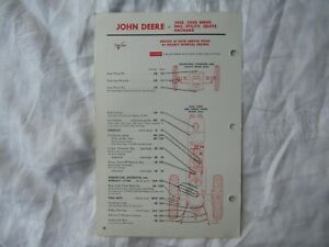 John Deere 3010 3020 grove orchard tractor lubrication guide chart