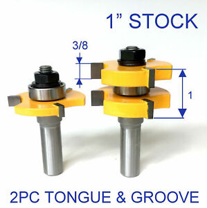 """2pc 1/2""""SH 1"""" Stock Tongue & Groove Assembly Router Bit Set S"""