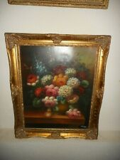 Old oil painting,{ Still life, with beautiful flowers, is signed, nice frame! }.