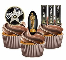 PRECUT Movie Night Awards Hollywood 12 Edible Cupcake Toppers Party Decorations