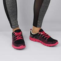 DYNAMIC Ladies Womens Sporty Workout Multicoloured Lace Up Trainers Black/Pink