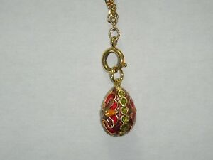 Joan Rivers Goldtone Red Yellow Purple Enamel W Stones Swirl Egg Charm W Ext.