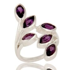 Natural Amethyst Gemstone 925 Sterling Silver Leaf Designer Ring Jewelry