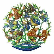 """Wall Decor Globally Made Painted Metal Fish School Family  24"""" Round"""