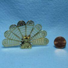 Dollhouse Miniature Brass Metal Fireplace Screen Peacock Fan Design IM66225