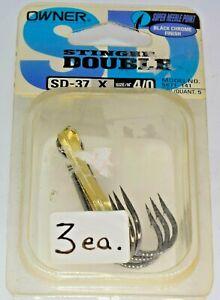 3pk Owner SD-37 Stinger Double Size 4/0 Black Chrome Super Needle Point Hooks