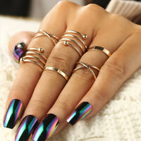 6pcs/Set Punk Gold Knuckle Rings For women Finger Rings Fashion Jewelry