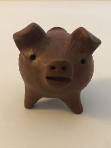 Ceramic/Clay Pig Figurine, Country Craft Hog Collectible, 3-legged