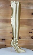 Beverly Gold Stretch Spandex OTK Thigh Stocking High Heel Boots 6-11