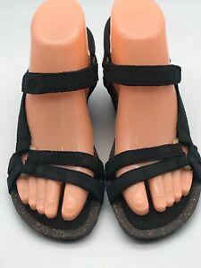 Teva Ventura womens size 6 Rialto sandals leather black cork wedge shoes