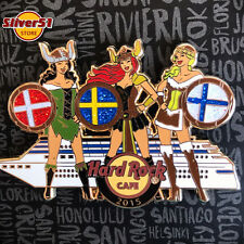 Hard Rock Cafe Helsinki Stockholm Oslo Scandinavia Viking girls cruise pin Rare
