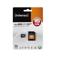 Speicher-Karte micro SD HC 16GB +SD-Adapter - INTENSO - für Handy/Smartphone...