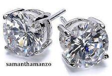 10CT BRILLIANT CUT Cz Cubic Zirconia Stud Silver Mens Ladies BLING Earrings 11mm