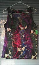 Tommy Hilfiger Women's Shirt Sleeveless Blouse Red Purple Green Paisley Sz M Top
