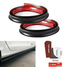 2Pc 6.6ft Flexible Rubber Car Side Skirt Anti-collision Protective Strip Wings