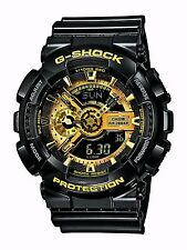 Casio G Shock Black Gold Dial Dive World Time Analog Digital Watch GA110GB-1A