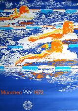 1972 MUNICH OLYMPICS SWIMMING A1 23x33.5 poster OTL AICHER art RARE VINTAGE NM