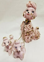 3 Spaghetti PINK Poodle Puppy Dogs Mom & Puppies Vintage Figurines