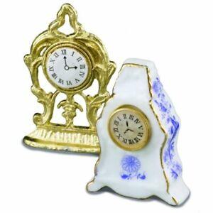 Reutter Porcelain - Dollhouse Miniature Metal and Porcelain Clocks Set of 2