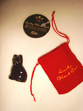 New Red Velvet Pouch Miniature Lucky Black Glass Cat Collectible Gift Ornament