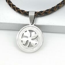 Silver Celtic Four Leaf Clover Pearl Pendant Braided Brown Leather Necklace