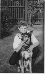 YOUNG BOY WITH HIS BEAUTIFUL DOG - IN THE GARDEN VINTAGE PHOTOGRAPH