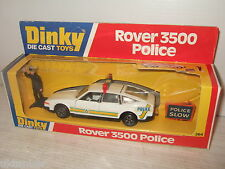 Vintage rare dinky toys 264 ROVER 3500 POLICE VOITURE & police figure & signalisation routière