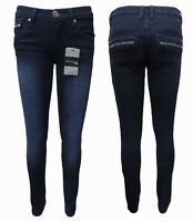 WAKEE DARK BLUE LOW CUT SKINNY LEG JEANS WITH ZIP FEATURES.