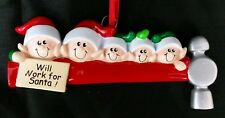 Personalized Five (5) Elves (Elf) on a Hammer Family Packages Christmas Ornament