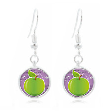 Green Apple Photo Tibet Silver Dome Photo 16MM Glass Cabochon Long Earrings #218