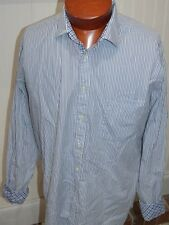 Lochlane Men's Shirt XL Flip Cuff Long Sleeve Shirtmakers Cloth Striped Blue