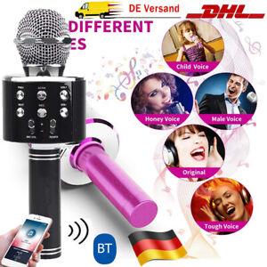 Wireless Bluetooth Karaoke Mikrofon Lautsprecher Handheld Mic Microphone USB DE