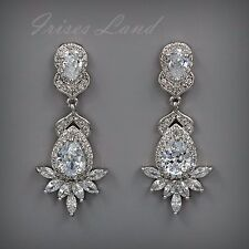 White Gold Plated Cubic Zirconia CZ Wedding Bridal Drop Dangle earrings 8556 New
