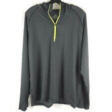 prAna Men's 1/2 Zip Running Hoodie Pullover Shirt Stretch Stripe Black Gray XL