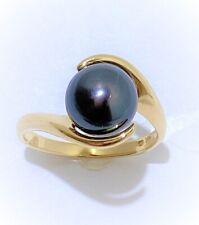 Fabulous 14kt Yellow Gold & 9mm Tahitian Black Pearl Ring size 7