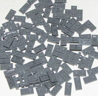 LEGO LOT OF 100 NEW DARK BLUISH GREY 1 X 2 DOT PLATES BUILDING BLOCKS