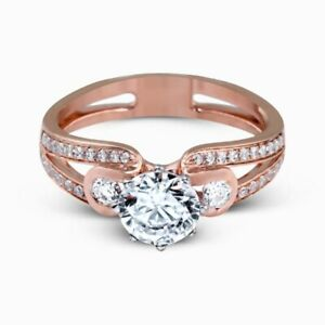 1.60 Ct Round Moissanite Anniversary Ring 14K Wedding Solid Rose Gold Size 5 6.5