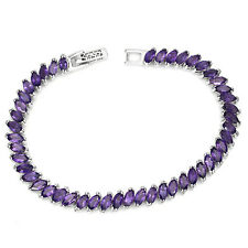 Sterling Silver Natural Marquise Purple Amethyst Tennis Bracelet 7 1/2 Inch