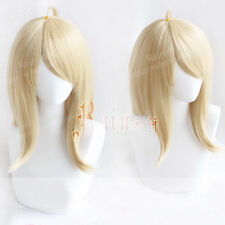 Danganronpa Dangan Ronpa Akamatsu kaede Soft Golden Blonde Cosplay Hair Wig +Cap