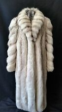 Full Length White Blue Fox Fur Coat Designer Full Skins Canada Size 8-12 Med