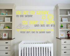 You are my sunshine, nursery rhyme, clhildrens, Wall art vinyl decal sticker