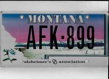 """MONTANA license plate """"AFK-899"""" ***ALZHEIMER'S ASSOCIATION***"""