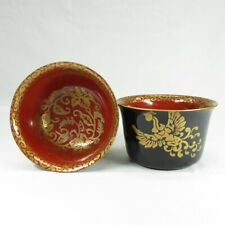 D984: Japanese old lacquer ware pair of bowl with wonderful MAKIE of phoenix
