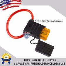 8 Gauge MAXI Inline Fuse Holder 100% Multi-Stranded Oxygen-Free Copper Wire LOT