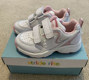 NEW IN BOX Stride Rite Bella Hook & Loop White with Pink Little Girl Sneakers 9W